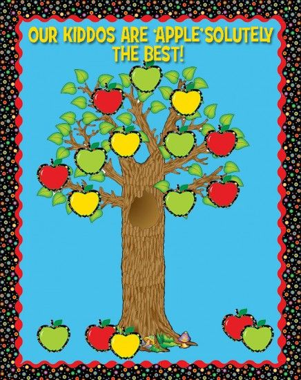 Our Kiddos Are 'APPLE'solutely The Best! They used CTP's Dots on Black Apples and Borders. Such a cute fall bulletin board idea and apples!