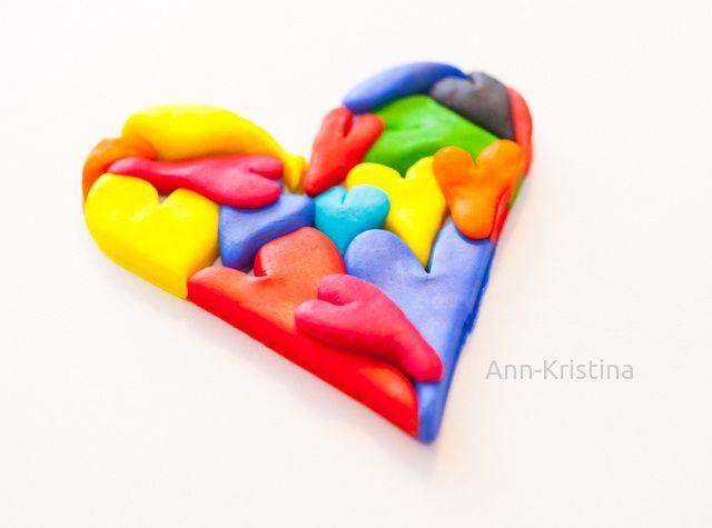 Annkristina's, sydän, heart, muovailuvaha, modelling clay figure