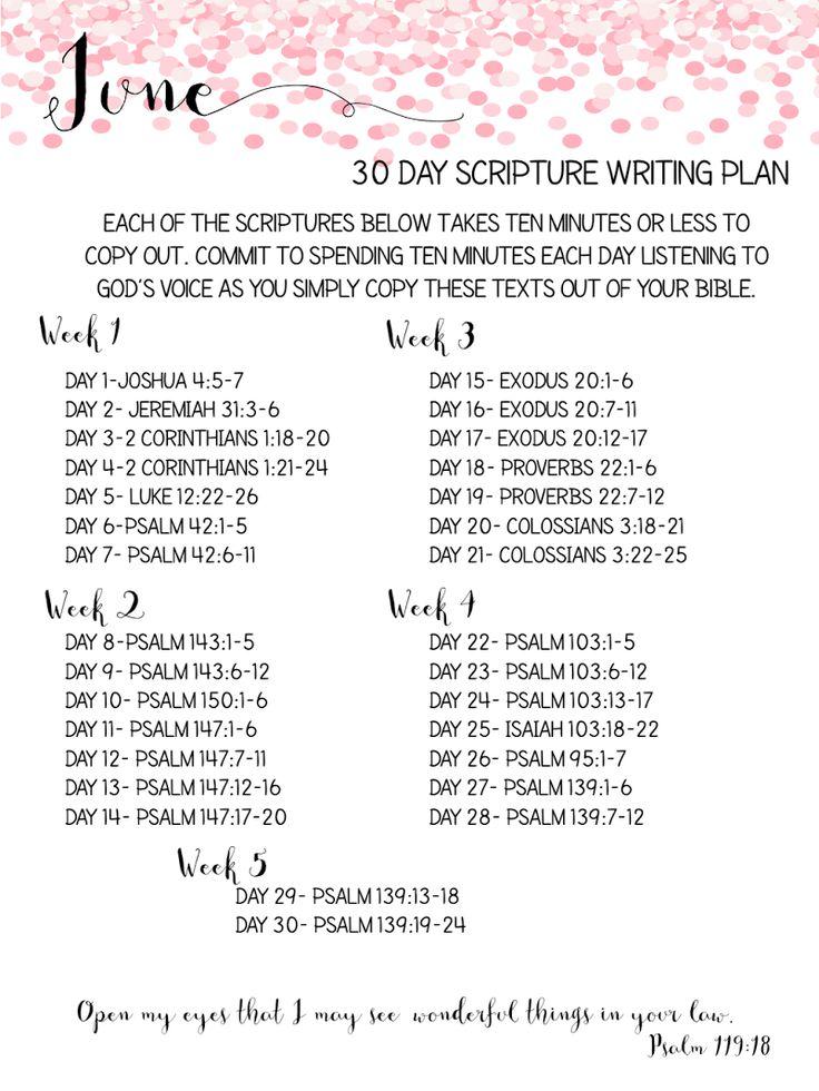June 30 day Scripture Writing Plan