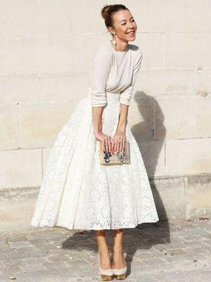 全身白でピュアで清楚なコーデ♡人気・おすすめ・トレンドのAラインスカートのモテコーデ一覧♡
