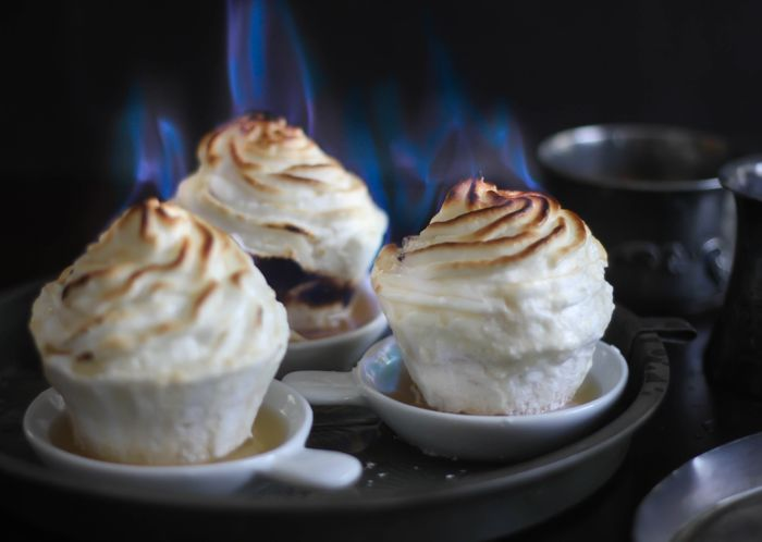 Sprinkle Bakes: Flaming Baked Alaska Cupcakes. You can omit the flame step. These sound yummy and not too hard to make.