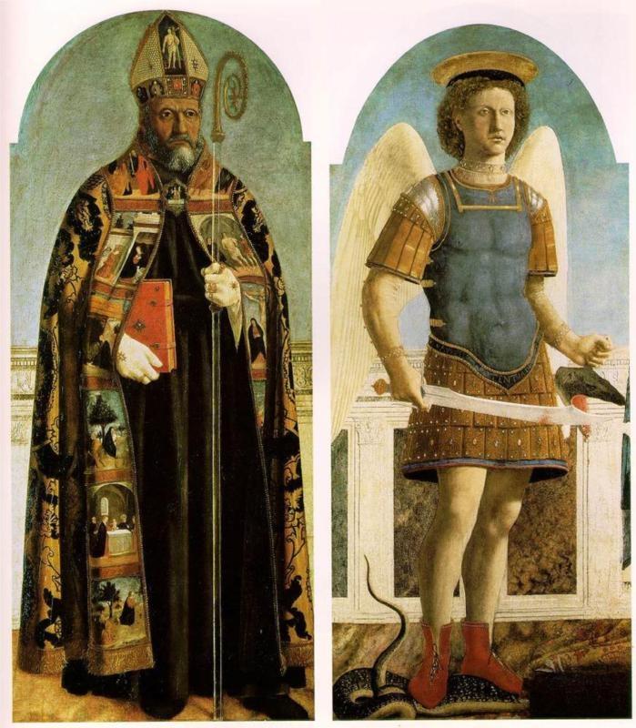Piero della Francesca, St. Augustine and St. Michael, c. mid-15th century
