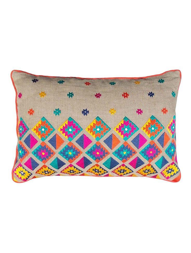 Diamond Linen-Cotton Cushion Cover - 21in x 14in