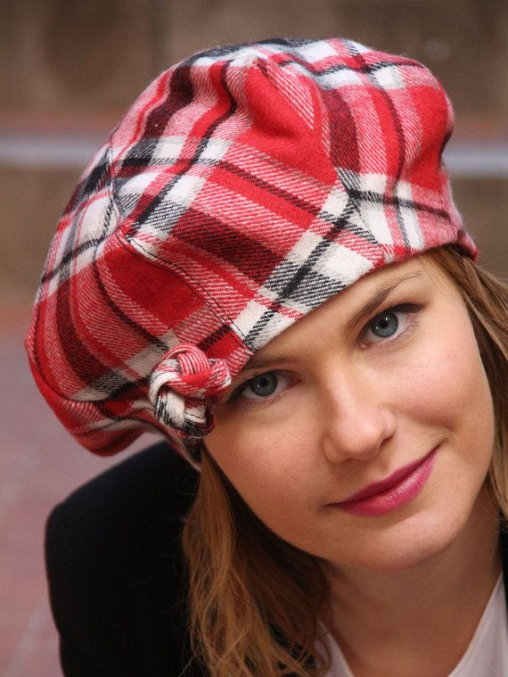 French beret / Womans wool beret / Red beret hat / Tartan beret hat / Fabric beret / Womans beret hat / Winter beret hat / Slouchy beret