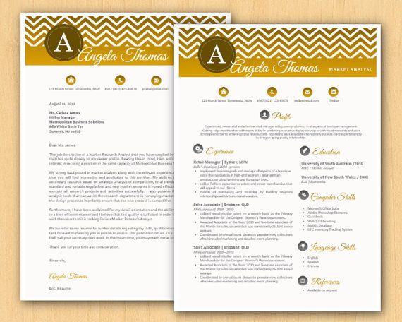 gold gradient chevron modern microsoft word resume and by