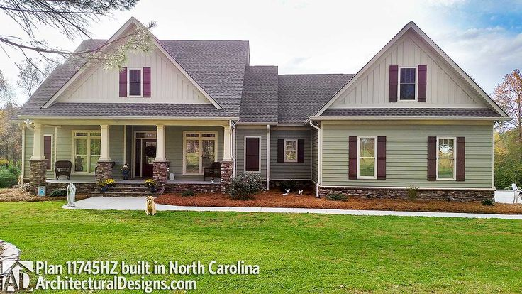 Architectural Designs Country House Plan 11745HZ built with a Craftsman twist by our clients in North Carolina. This 2,100 square foot home gives you 3 beds, 2.5 baths and has a bonus room over the garage. Ready when you are. Where do YOU want to build?