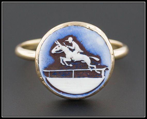 Vintage Equestrian Horse Ring Porcelain & by TrademarkAntiques