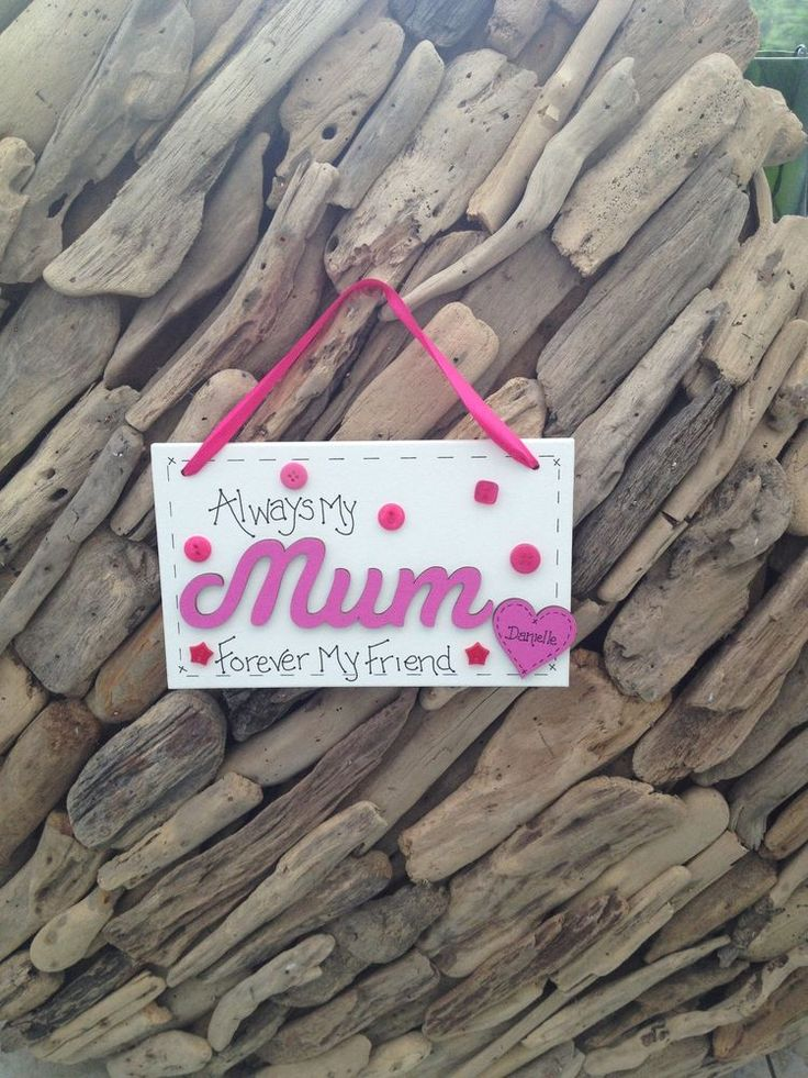 Mother Mum Personalised Handmade Plaque Sign Gift Present Personalised Hearts