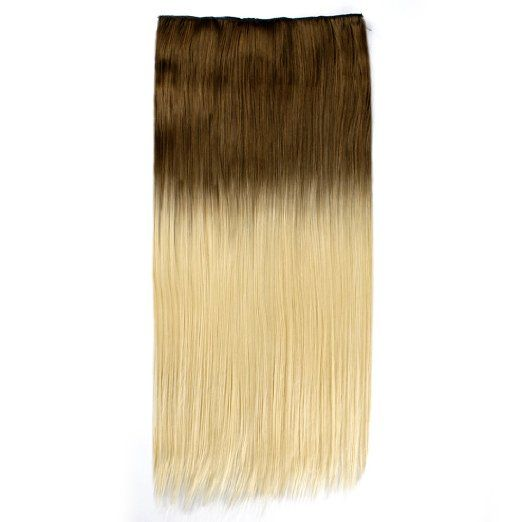 25'' 3/4 Full #Head Clip in #Hair #Extensions #Ombre One Piece 2 Tones #Straight #Coffee Blonde 5pcs 150g