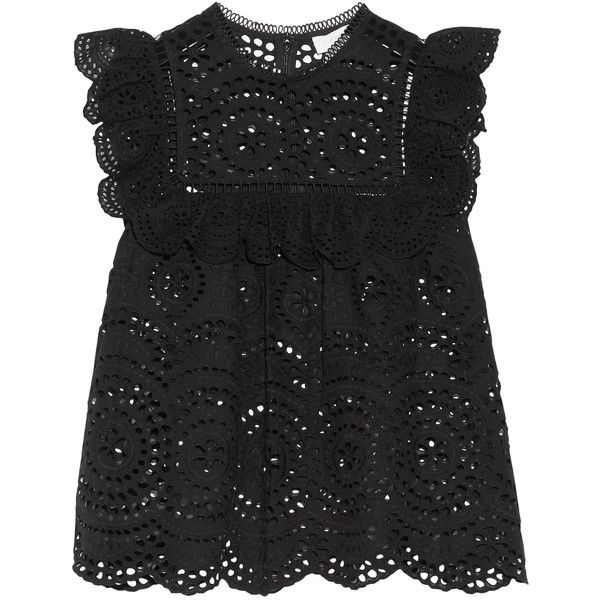 Zimmermann Meridian ruffle-trimmed broderie anglaise top ($520) ❤ liked on Polyvore featuring tops, flounce top, bohemian tops, frill top, ruffle top and sheer top