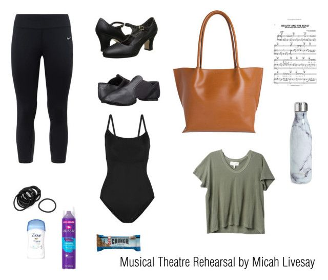 """Musical Theatre Rehearsal by Micah Livesay"" by micah-ivesay on Polyvore featuring Ballet Beautiful, NIKE, Capezio, Lodis, S'well, The Great and Aussiei. Musical Theatre Outfit"