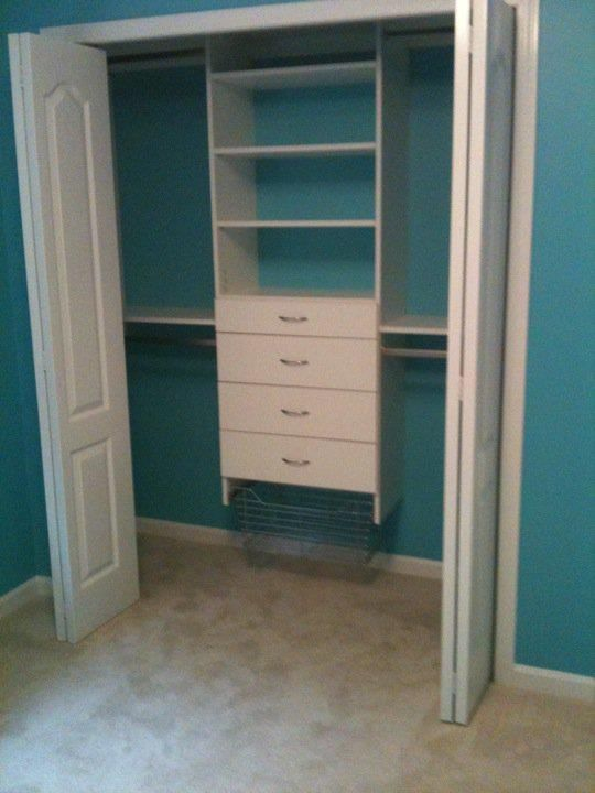 Since I have 2 closets like this...I would love to add the shelves and drawers!