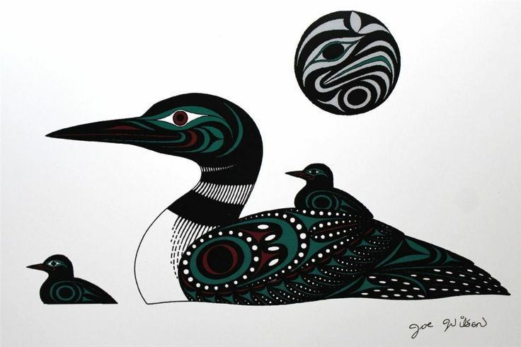 Joe Wilson - Loons --Print Northwest Coast Native Indian First Nations Cowichan