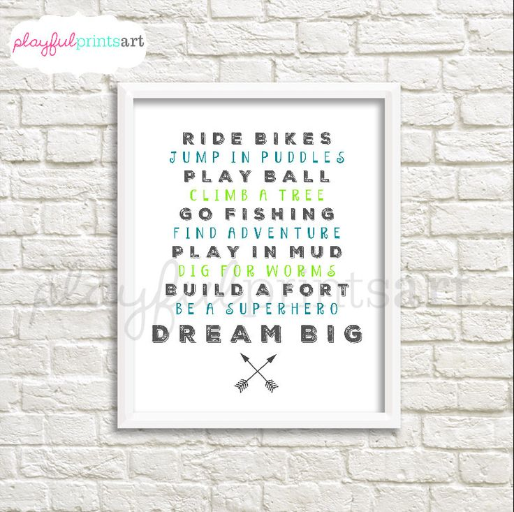 Boy Word Collage Print, 8x10, Instant Download by playfulprintsart on Etsy