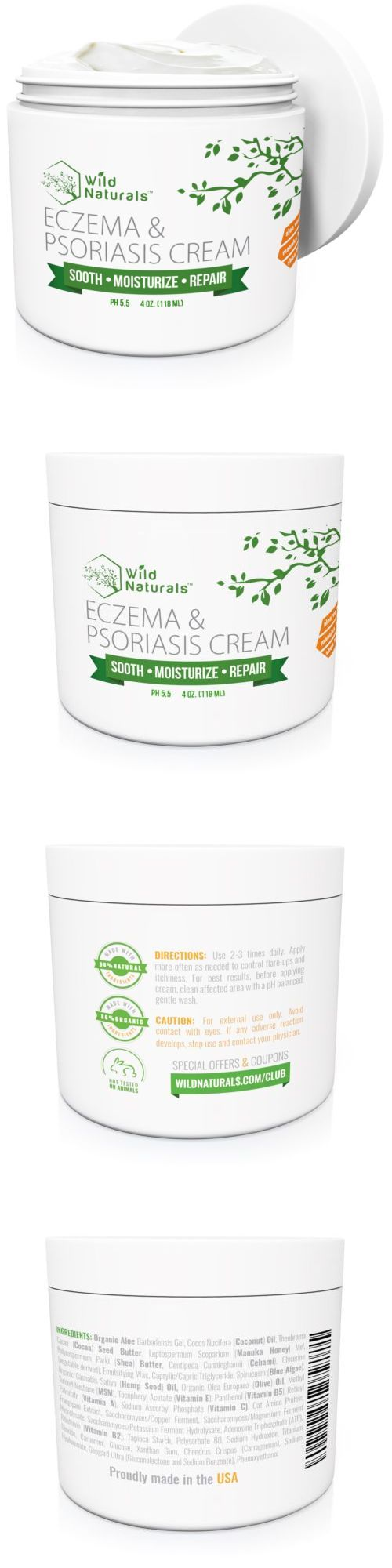 Other Skin Care: New Wild Naturals Eczema And Psoriasis Cream 4Oz 8Oz | Soothing Natural Relief -> BUY IT NOW ONLY: $33.96 on eBay!