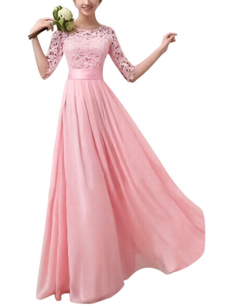 Frauen Lange Spitzenkleid Abend Formale Party Prom Hochzeit Brautjungfer Ballkleid Mode Damen Halbe Hülse Pageant Kleider   – Party Dresses