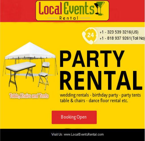 Event party rental supplies – California