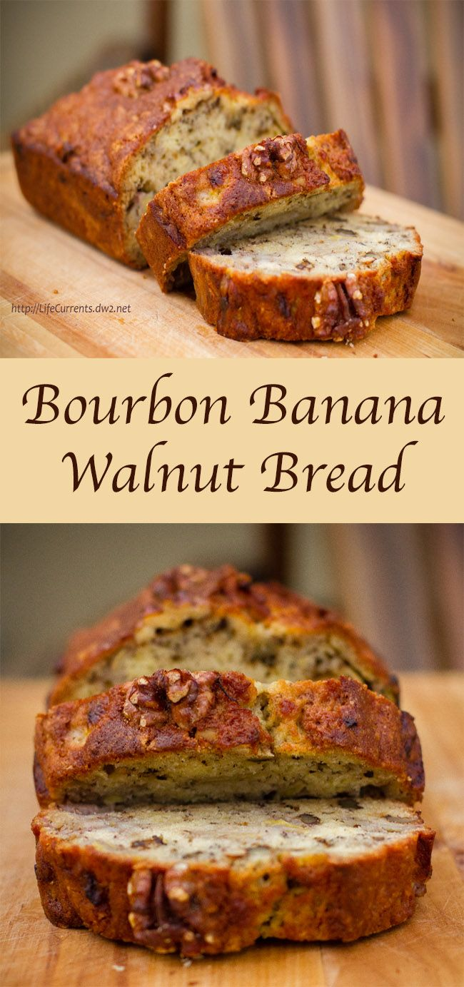 Bourbon Banana Walnut Bread: A delicious way to use overripe bananas, and if there's any left over, re-purpose it for french toast or bread pudding...delish!!