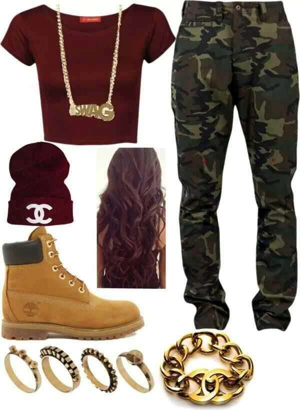 "Timberland. in love!!!!! with this outfit! minus the hair, the beanie, the bracelet and the ""swag"" necklace .:"