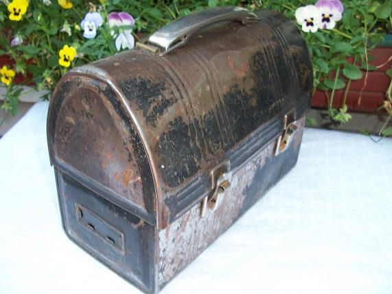 Vintage Black  Metal Handle Metal Lunch Box Lunch Pail Industrial by Sunflowermom on Etsy