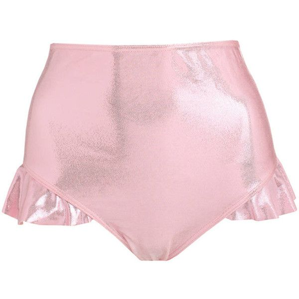 Pink Holographic Frill Bikini Bottom High Waist Womens Swimsuit Tumblr... ($27) ❤ liked on Polyvore featuring swimwear, bikinis, bikini bottoms, pink, women's clothing, pink high waisted bikini, high waisted bikini bottoms, ruffle bottom bikini, ruffle bikini and swim bathing suits