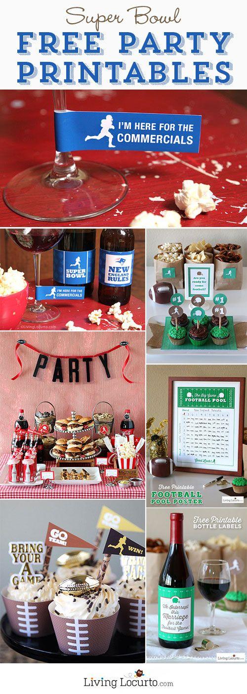 Super Bowl Free Party Printables. Fun Football party ideas! LivingLocurto.com