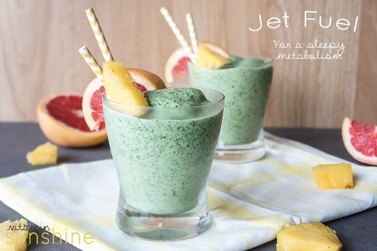 A smoothie formulated to rev up your metabolism, filled with pineapple, grapefruit, banana, spinach, green tea and whey protein.