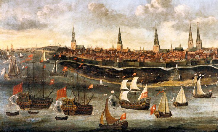 Segler auf der Elbe vor Hamburg (um 1680): Schiffe sind die wichtigsten Transportmittel für die Händler der Hanse. Sie bringen Waren aus der ganzen Welt an die Küsten von Nord- und Ostsee. Und werden in Schlachten eingesetzt, wenn ein Herrscher die Geschäfte des Kaufmannsbundes zu behindern wagt