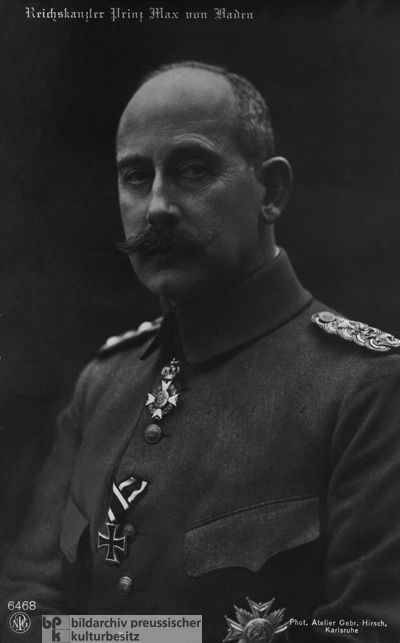 Reich Chancellor Max von Baden (1918)-To facilitate a ceasefire on the basis of Wilson's Fourteen Points, he appointed representatives of the majority parties (the Social Democratic Party, the Center Party, and the Left-Liberal Party) to his cabinet. Additionally, during his five-week tenure as Reich Chancellor, he passed constitutional amendments and acted upon the demand (voiced by the United States, in particular) for parliamentary reform and the democratization of the German Empire.