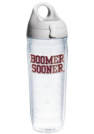 Oklahoma Sooners 24oz Slogan Clear Water Bottle
