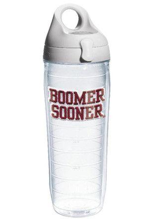 Oklahoma Sooners 24oz Slogan Clear Water Bottle
