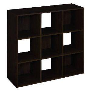 9 Cube organizer with 5 beige bins