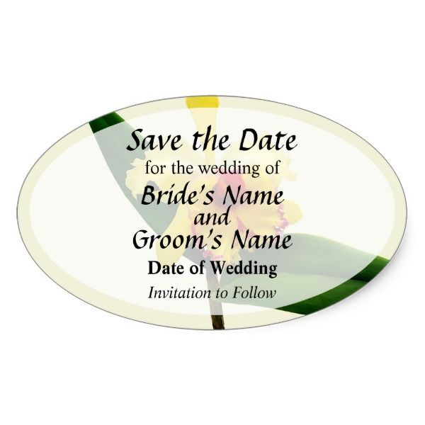 Pink Tipped Yellow Orchid Save the Date Oval Sticker #wedding #kraft #custom #bridekraft #floral #flowers