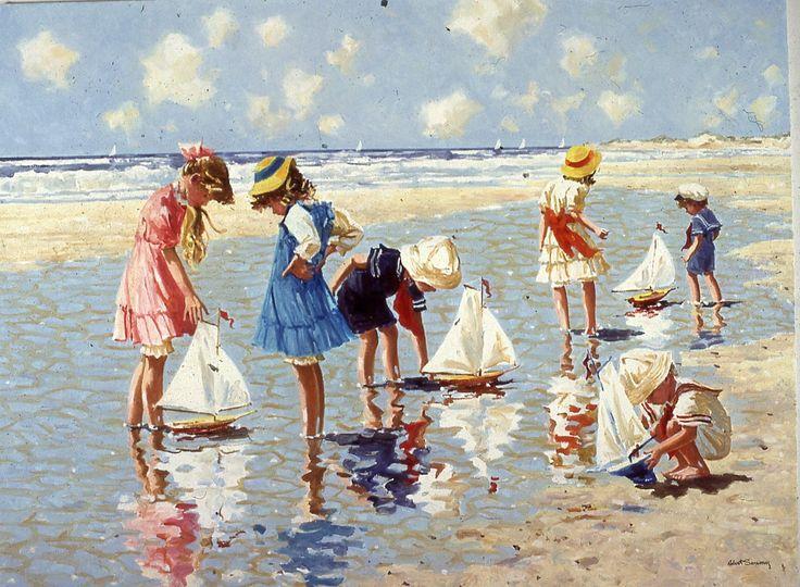 Beach Paintings Robert Sarsony Sailboats 30 x 40 robertsarsony.com