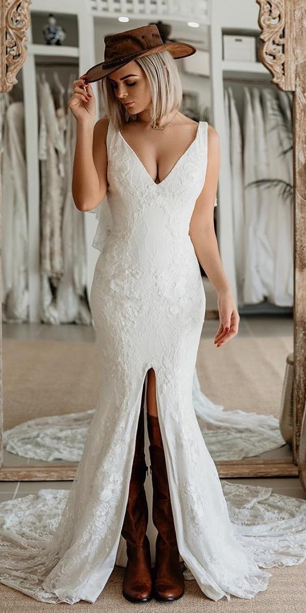 6512c749cc65b lace boho wedding dresses trumpet v neckline with slit boots hat cowboy the  gc bridal lounge