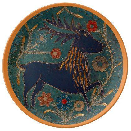 Scandinavian Textile Deer Dinner Plate - antique gifts stylish cool diy custom