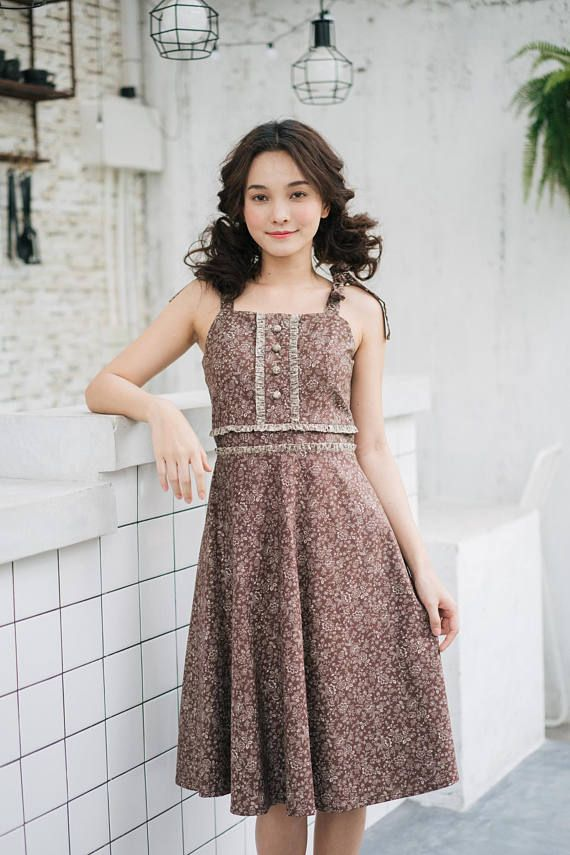 Mia Summer 2018 Dress Brown Fl Cotton Tea Length Vintage Modern Tie Shoulder Bow Party Homecoming