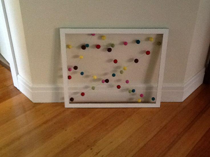 Framed Felt Ball Garland for Fussypots Childrens  Parties