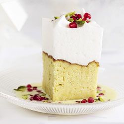 Three milk cake with pomegranate & pistachio