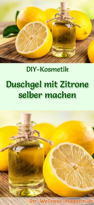 Duschgel selber machen - DIY-Kosmetik-Rezept für Duschgel mit Zitrone aus nur 5 Zutaten, der klare Zitronenduft steht für Sommer und Frische ...