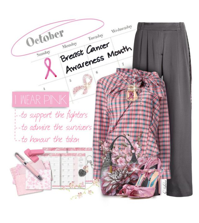 """""""Breast Cancer Awareness"""" by xiandrina ❤ liked on Polyvore featuring Serena Bute, Isabel Marant, Kobelli, Napier, House of Doolittle, Anuschka, Gucci, ICE London, Lumière and IWearPinkFor"""