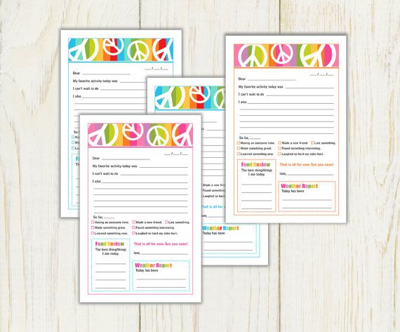 Summer Camp Stationery - peace signs - Digital - Instant download - fill in note for camp