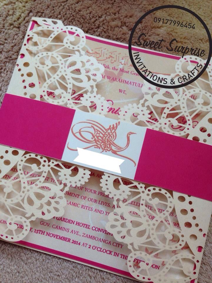 muslim wedding invitations mumbai%0A Cream and Pink Muslim Wedding Invitation