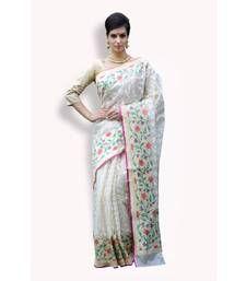 Buy Beige woven organza saree with blouse organza-saree online