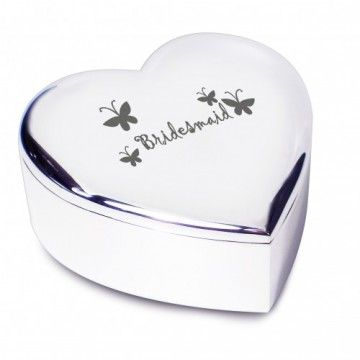Bridesmaid Butterflies Heart Trinket