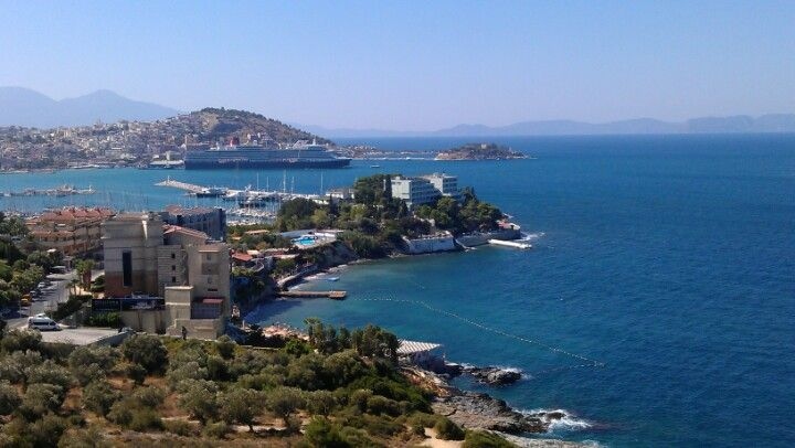 Kuşadası in Aydın Halfway between Izmir and Bodrum and 20 minutes from Ephesus, a small city full of cafes stretched along a crescent bay with a world-class marina