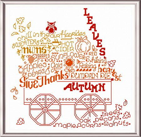 Lets Leap Into Fall 'Words' cross stitch pattern designed by Ursula Michael,