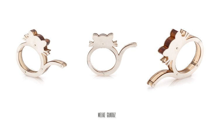 Cat Rings,  Plexiglass rings, Sterling Silver , Handmade Design