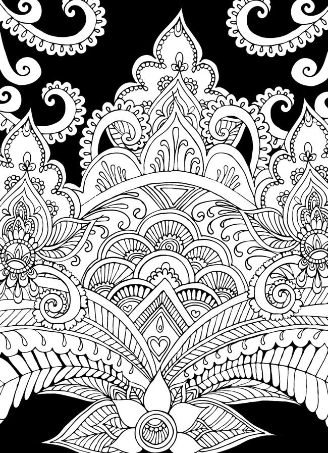 creative haven magical mehndi designs coloring book striking patterns on a dramatic black background - Doodle Coloring Book