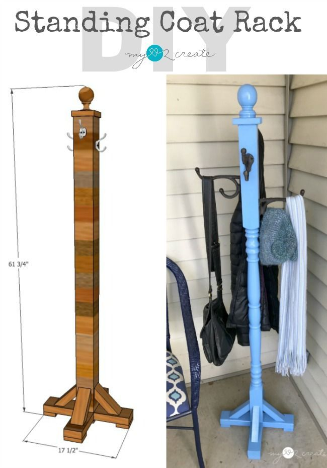 Build a simple and easy DIY Standing Coat Rack for your home entryway or mudroom!  Free plans and picture tutorial at MyLove2Create.